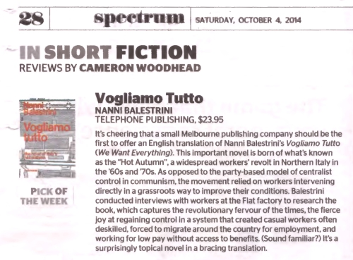 Scan of newspaper page showing review of Vogliamo Tutto